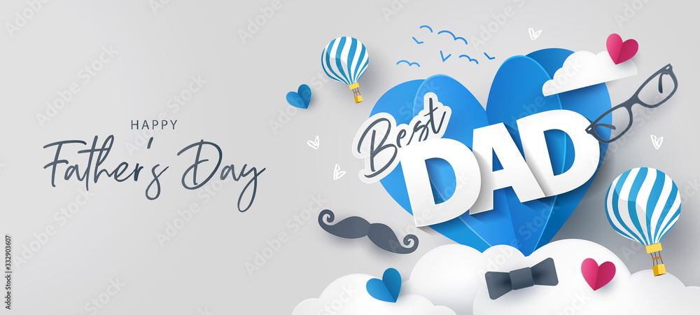 Fototapeta Happy Father's Day greeting card, banner, poster or flyer design with flying origami hearts over clouds with air balloons, paper mustache, glasses and bow tie. Paper art, digital craft style.