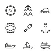 Vector Set Of Icons On The Mar...