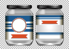 Two Empty Jars With Blue Label...