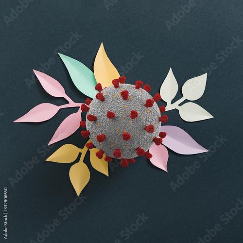 New Corona virus infection (novel corona virus disease) with paper flower leaves. Pandemic spring nature concept. 3d Render Fototapete