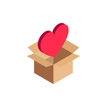 Isometric Heart Icon, 3d Like Symbol In Open Cardboard Box Isolated. Romantic And Health Concept. Vector Illustration Design, Infographic, Web, App, Ad