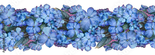 Hand drawn watercolor painting seamless border from Many blue violet flowers ...
