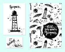 Hand Drawn Ink Summer Flyers With Brush Lettering. Lighthouse, Boat, Dolphin, Anchor, Palms, Pattern, Stains. Set Of Vector Design Templates.