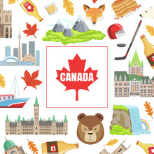 Canada Banner Template With Canadian National Cultural Symbols Vector Illustration