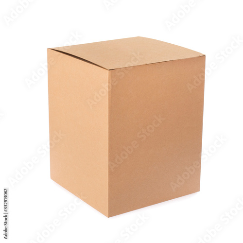 Fényképezés Cardboard empty package box isolated on white background