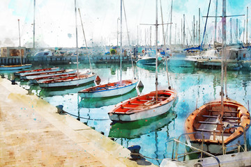 Panel Szklany Marynistyczny abstract watercolor style image of nautical concept with marina, sea and boats