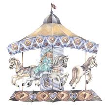 A Little Girl On A Carousel. H...