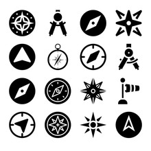 Set Of 16 Compass Filled Icons