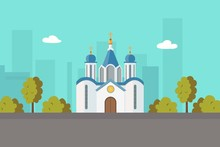 Church Christian Orthodox Or Catholic Church In City Landscape Cartoon Vector Illustration For Religion Architecture. Christian Church City Building, Famous Temple Landmark. Religious Building.