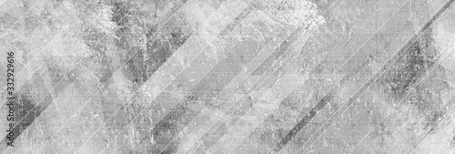 Light grey abstract geometric grunge banner with concrete texture. Technology vector design