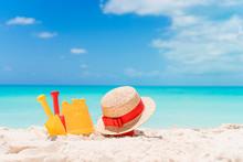 Beach Kid's Toys On White Sand...