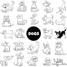 Black And White Cartoon Dog Ch...