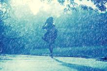 Summer Rain Romance Girl Happiness / Weather Rain, Summer Mood, Happy Cheerful Woman Model