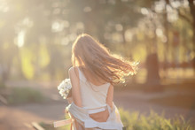 Wind Long Hair Summer Girl Portrait / Freedom, Happiness, Independence, Tourist Travel Young Girl