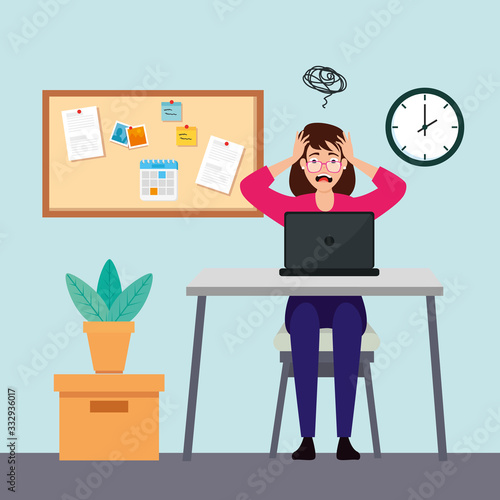 Fotomural woman with stress attack in workplace vector illustration design