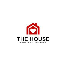 Creative Modern Style House With Heart Sign Logo Design Template