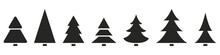 Christmas Tree Icons. Set. Vector Illustration