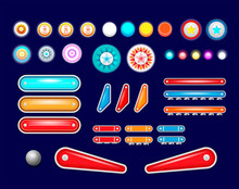 Isolated Pinball Elements Icon Set With Different Set Of Buttons And Tools.