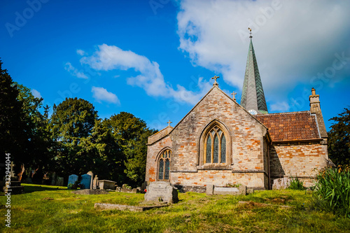 Old English church with graveyard