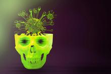 Coronavirus 2019-nCov Novel.Pandemic Coronavirus Covid-19.Paninc Skull With Virus In The Brain And Coronaviruses As Dangerous Flu Strain Cases As A Pandemic.3d Rendering.overlay Virus Background.