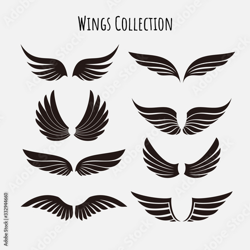 Vector wings logo set. Winged logo company and icon wing flying, eagle wing brand and logotype wing bird illustration Wall mural
