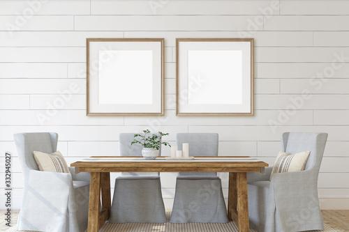 Fototapeta Modern dining-room with frames. 3d render. obraz