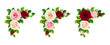 Vector set of pink, burgundy and white roses corner decorative elements isolated on a white background.
