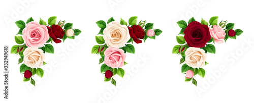 Obraz na plátně Vector set of pink, burgundy and white roses corner decorative elements isolated on a white background