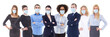 canvas print picture - pandemic, health care, business and office work concept - large set of business people portraits in protective masks isolated on white