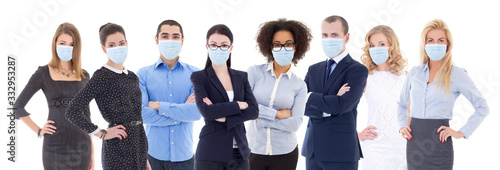 Fototapeta pandemic, health care, business and office work concept - large set of business people portraits in protective masks isolated on white obraz