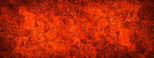 Red Orange Grunge Background. Toned Rock Texture. Close-up. Bright Fiery Red Banner With Copy Space. Color Trend 2020.