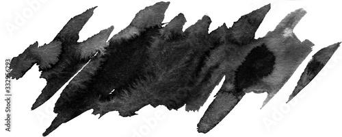 Obraz Ink geometric shape. Brush paint strokes. Texture brushes and modern grunge brush lines. Ink brush artistic design element for frame design. Isolated element. - fototapety do salonu