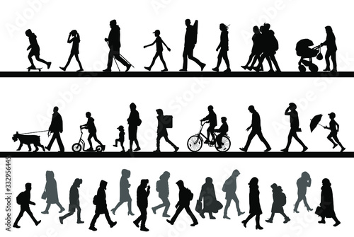 Fototapeta People walk along the road, ride a bike and scooter, rush to work. Children, men and women. Vector silhouettes set. obraz