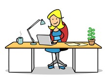 Frau Arbeitet Mit Laptop Compu...