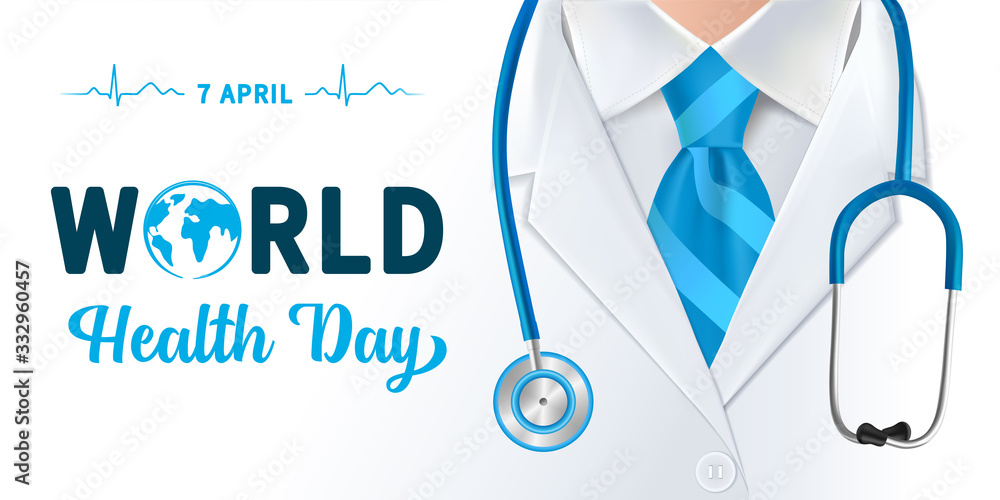 Fototapeta World Health Day, doctor and stethoscope design. Globe in text and normal cardiogram as a concept poster for World Health Day, 7 April. Vector illustration