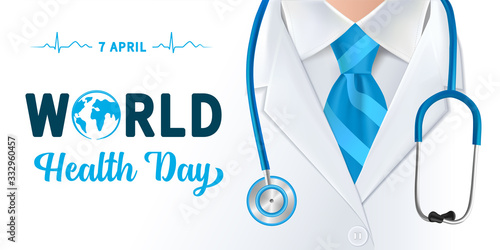 Fototapeta World Health Day, doctor and stethoscope design. Globe in text and normal cardiogram as a concept poster for World Health Day, 7 April. Vector illustration obraz