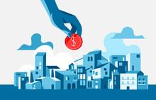 Una Mano Che Tiene Una Moneta Di Dollaro. Paesaggio Urbano, Edifici, Sfondo Con Le Nuvole