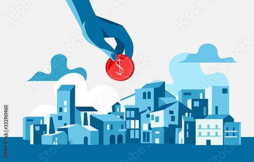 Fototapeta Una mano che tiene una moneta di dollaro. Paesaggio urbano, edifici, sfondo con le nuvole obraz