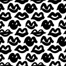Black Paint Lips Vector Seamless Pattern. Abstract Girl's And Woman's Mouth. Grunge Brush Stroke Texture.