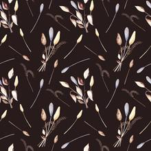 Seamless Pattern, Dry Grass An...