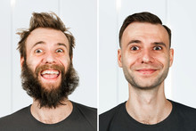 Happy Guy With Beard And Witho...