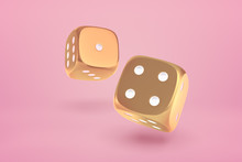3d Close-up Rendering Of Two Glossy Gold Dice Bouncing On Yogurt Pink Background.