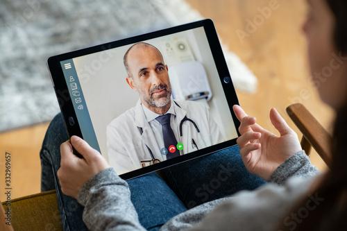 Fototapeta Patient doctor online consultation obraz