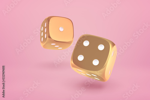 3d close-up rendering of two glossy gold dice bouncing on yogurt pink background Fototapeta