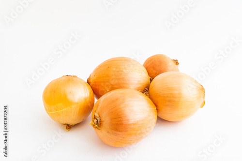 Photo Closeup of onions isolated on a white background