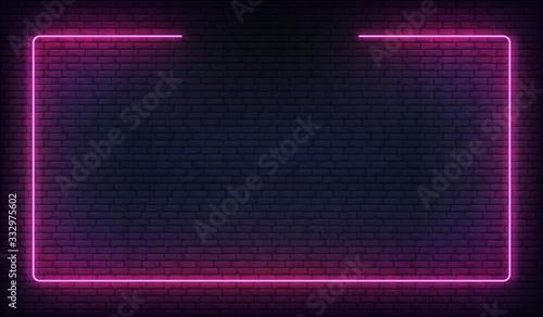 Fotografía Neon frame border. Purple neon glowing background