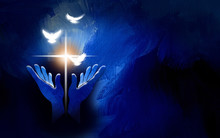 Graphic Praise Hands Christian Cross And Spiritual Doves Background