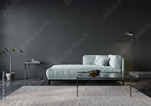 Fotografering The interior of the living room or reception with a light green sofa