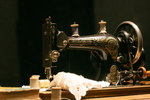 Vintage Sewing Machine In A Da...