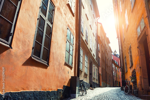 Beautiful street at sunset in Old Town of Stockholm, Sweden Canvas Print